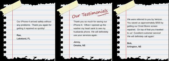 First Aid Cellular Testimonials