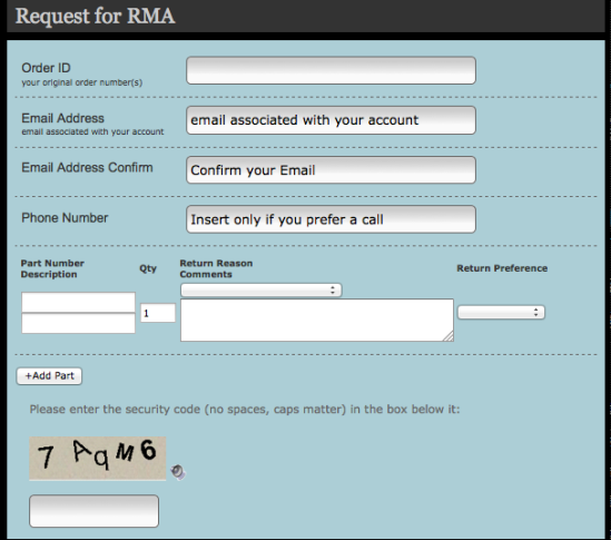 RMA Form Screen shot